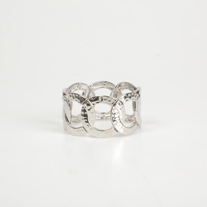 Bracelet manchette anneaux couleur argent femme