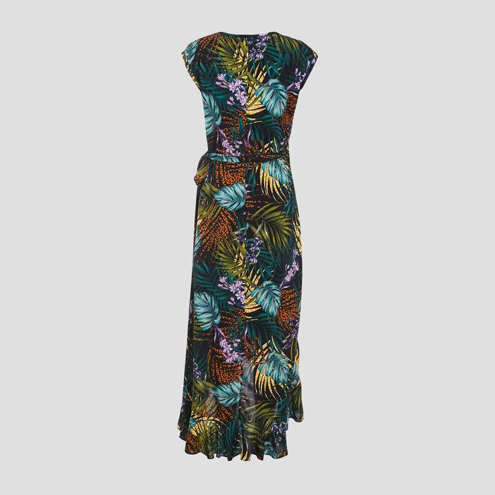 Robe longue portefeuille noir femme