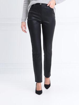 Pantalon ajuste enduit noir femme