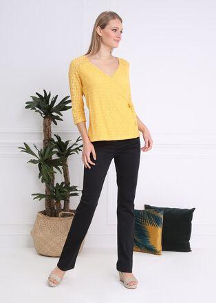 T shirt col V manches 34 jaune femme