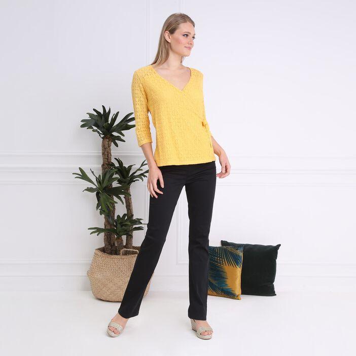 T-shirt col V manches 3/4 jaune femme