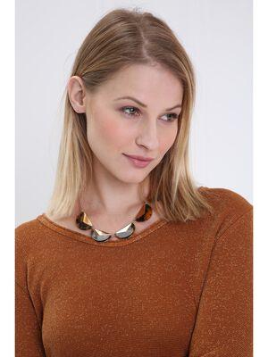 Collier ras de cou marbre couleur or femme