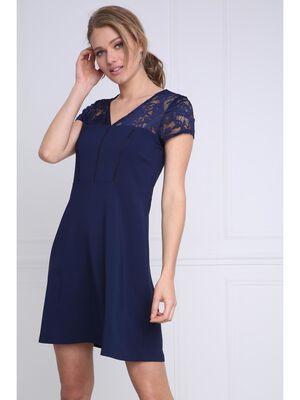 Robe courte cintree dentelle bleu femme