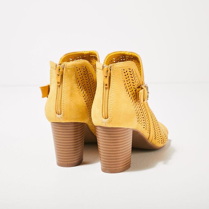 Sandales à talons perforées jaune femme