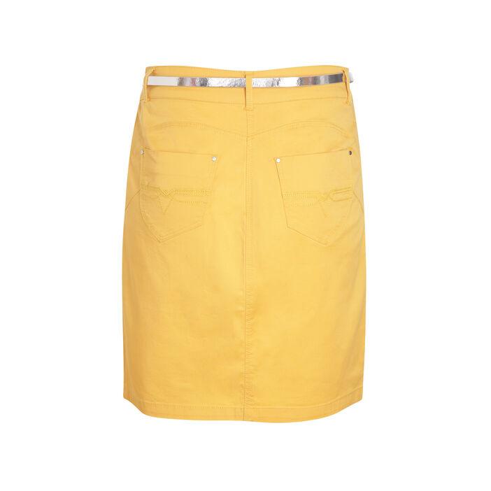 Jupe coton unie avec ceinture jaune moutarde femme