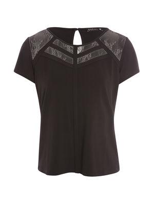 T shirt manches courtes uni noir femme