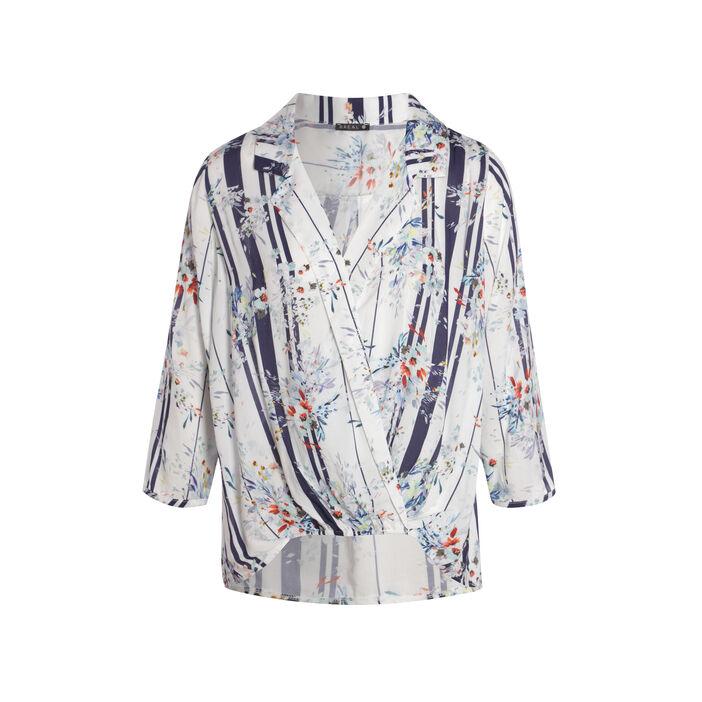 Chemise col cranté motif rayé et floral ecru femme