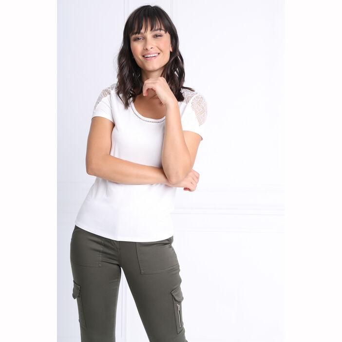 offer discounts huge discount new arrive T-shirt manches courtes creme femme | Bréal