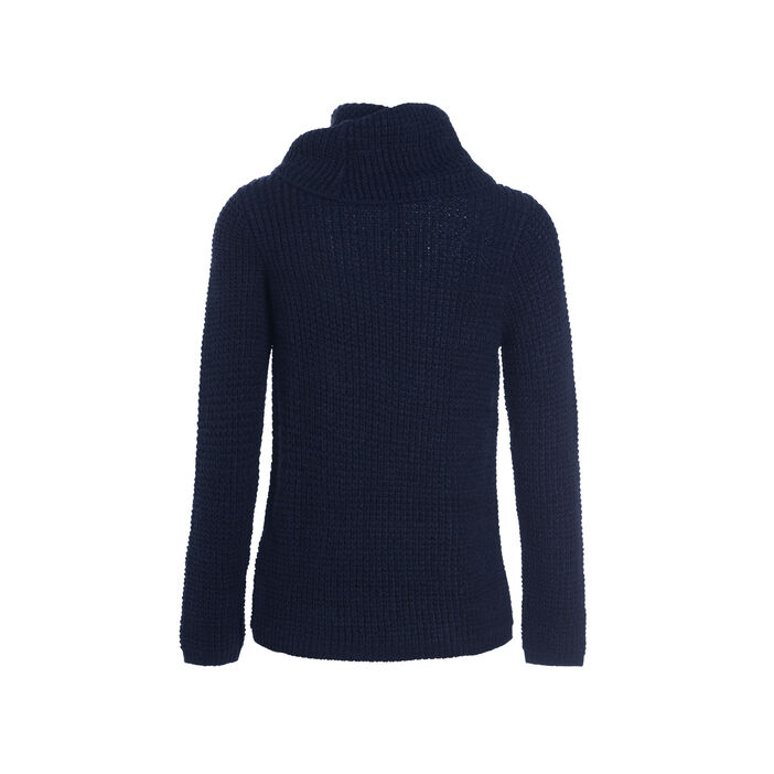 Pull manches longues 3 boutons bleu marine femme