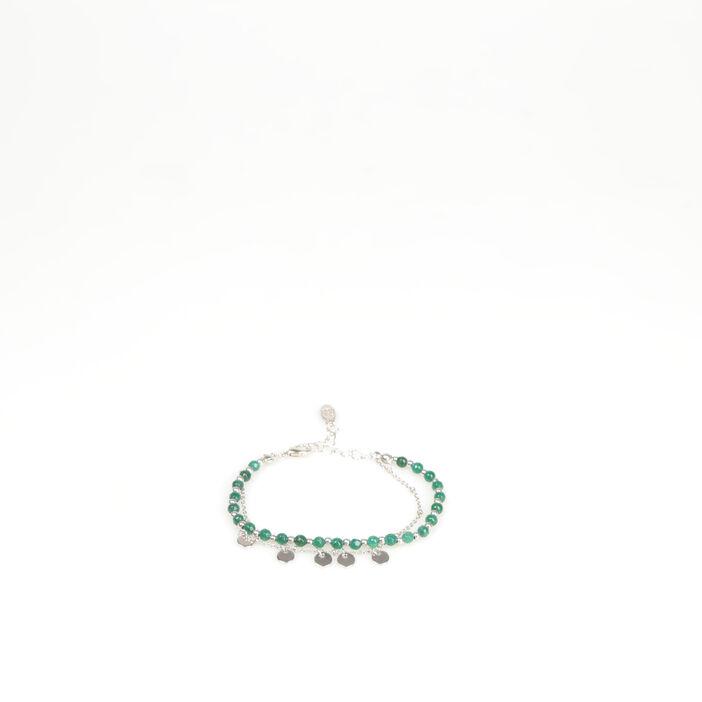 Bracelet 2 rangs piècettes couleur argent femme