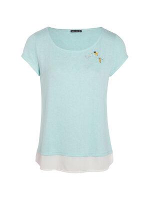 T shirt bimatiere et pins bleu femme