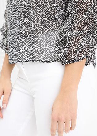 Chemise manches larges imprimee noir femme