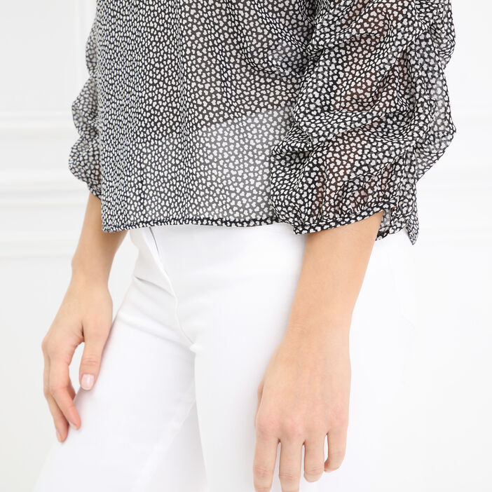 Chemise manches larges imprimée noir femme