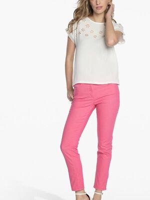 Pantalon avec broderie rose fushia femme