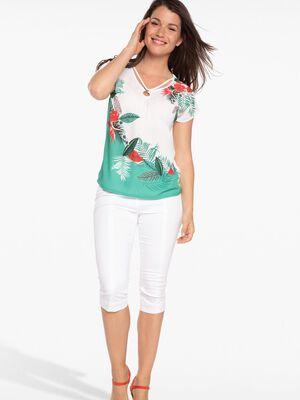 Pantacourt avec zip blanc femme