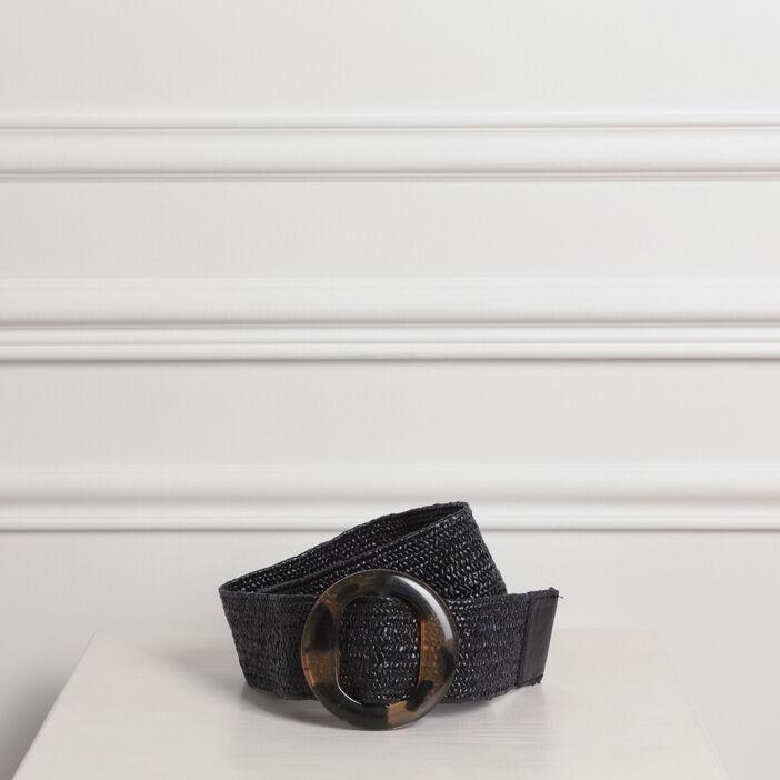 Ceinture large boucle ronde noir femme