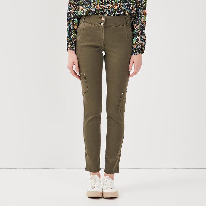 Pantalon ajusté vert kaki femme