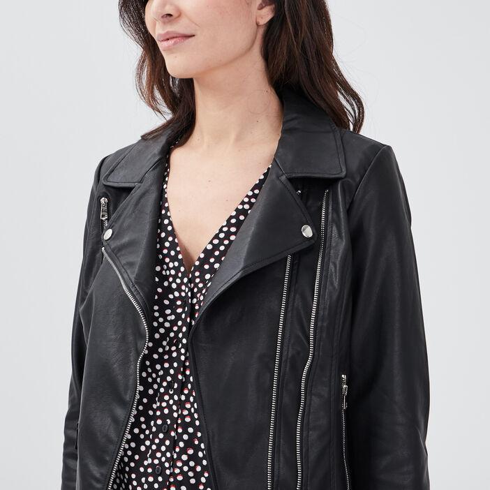 Veste droite zippée noir femme