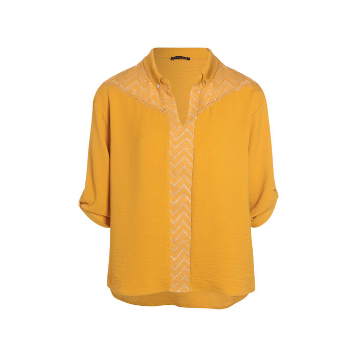 Chemise unie jaune moutarde femme