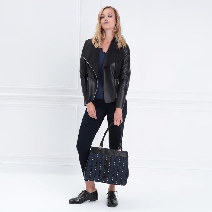 Jeans ajusté à strass taille standard denim brut femme