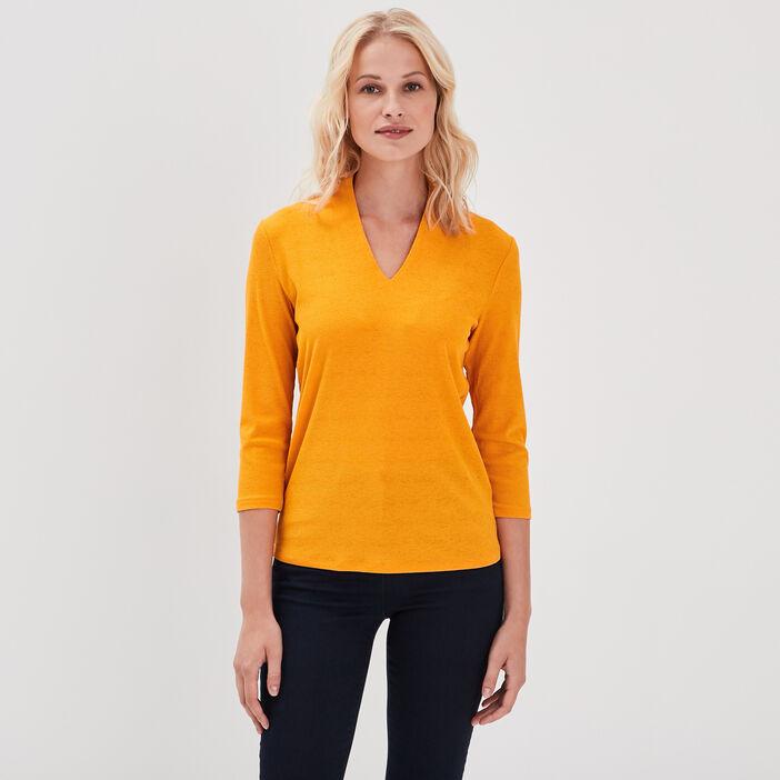 T-shirt manches 3/4 côtelé jaune or femme