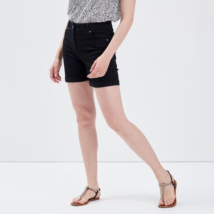 Short droit en jean noir femme