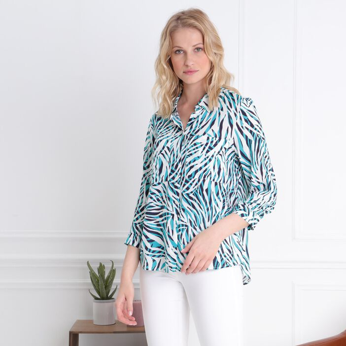 Chemise manches 3/4 à poches vert turquoise femme