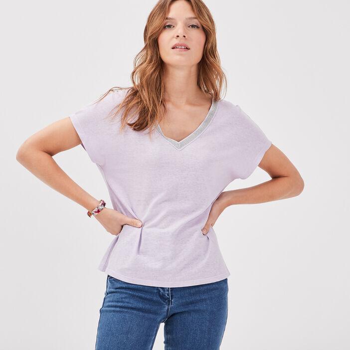 T-shirt manches courtes violet clair femme