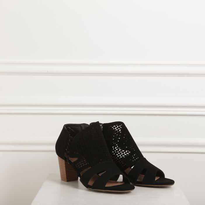 Boots ajourées à talons noir femme