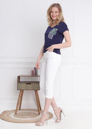 T shirt manches courtes poche bleu fonce femme