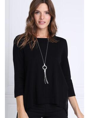 Sautoir anneau avec chainettes couleur argent femme
