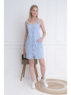 Robe Denim a bretelles denim bleach femme