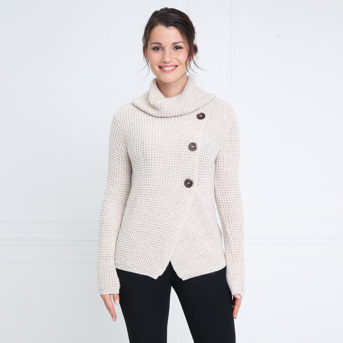 Pull manches longues 3 boutons marron clair femme
