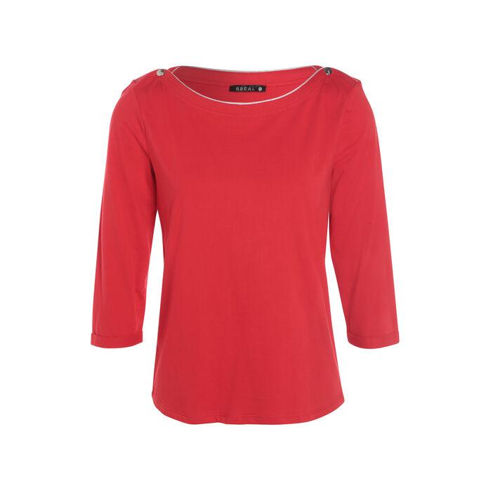 T-shirt manches 3/4 rouge femme