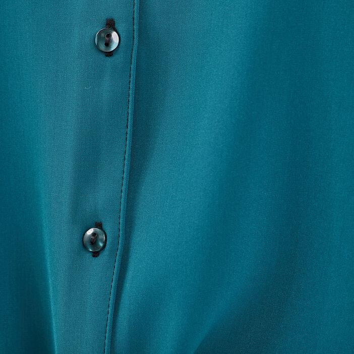 Chemise manches longues vert canard femme