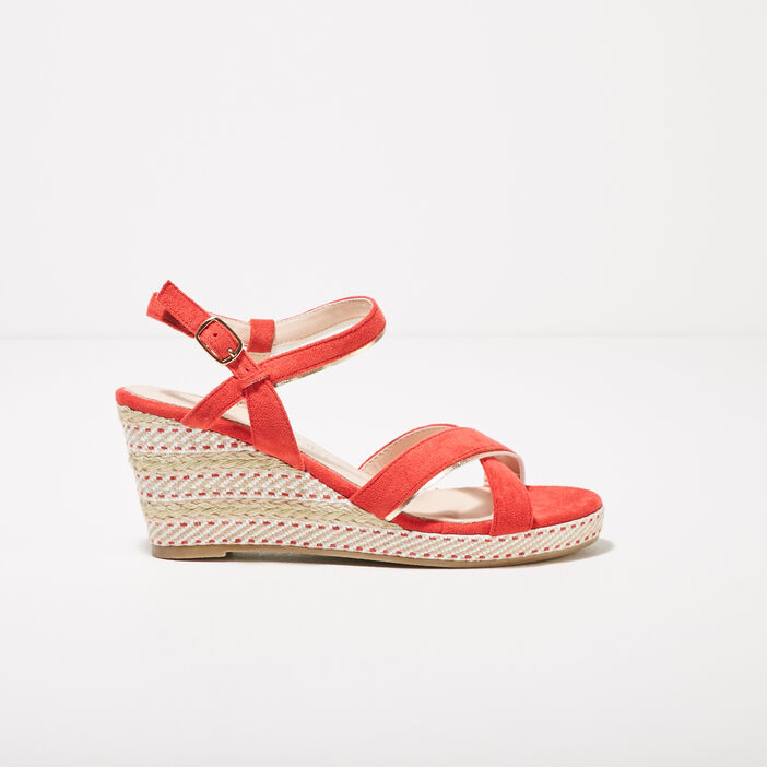 Sandales à talons compensés rouge femme