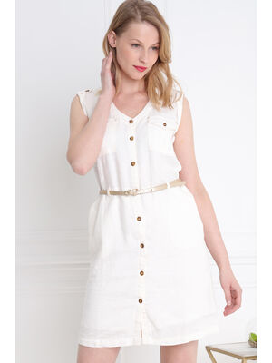 05b78387a2e Robe courte ajustee a ceinture ivoire femme
