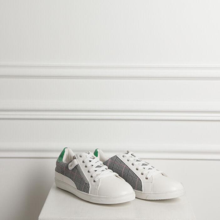 Baskets basses bimatières blanc femme