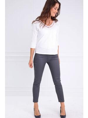 Pantalon enduit 78eme gris fonce femme