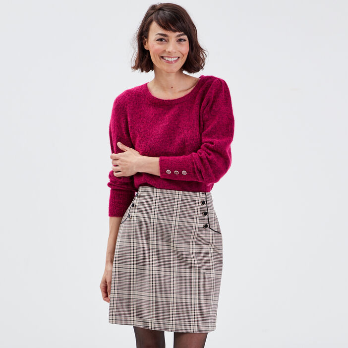 Pull droit manches ballons rose femme