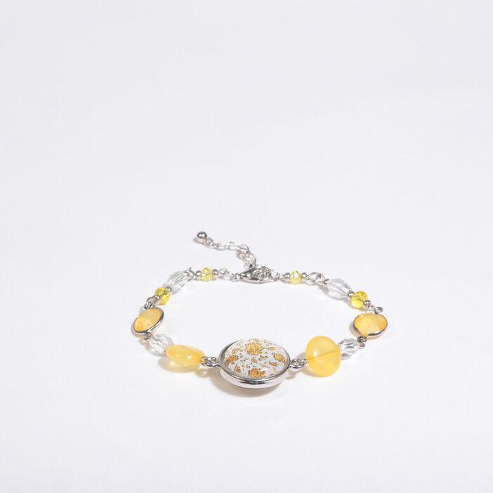 Bracelet à pierres et breloque jaune femme