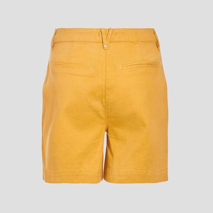 Short droit taille haute jaune moutarde femme
