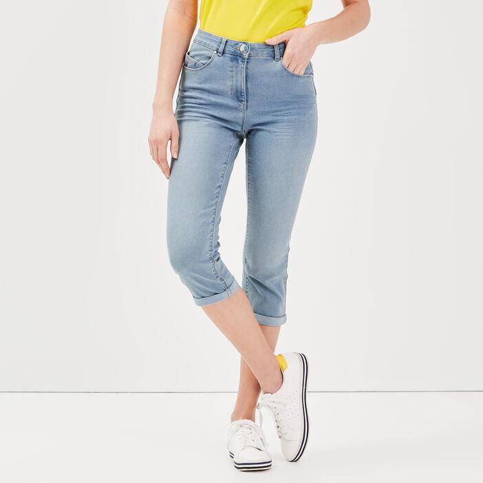 Pantacourt ajusté en jean denim stone femme