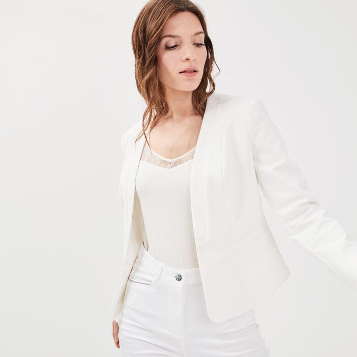 Veste droite col en V dentelle ecru femme