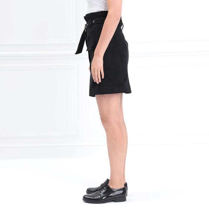 Jupe droite boutonnée noir femme