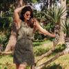 Robe droite sans manches vert kaki femme