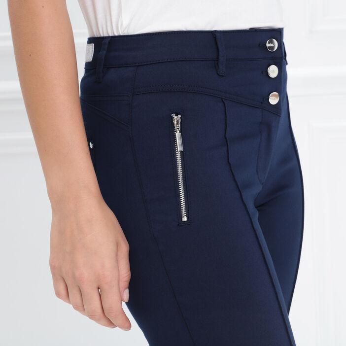 Pantacourt taille standard bleu marine femme