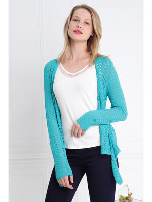 Gilet manches longues noue vert turquoise femme