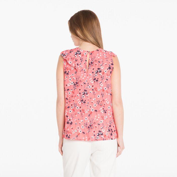 Chemise imprimée à volant rose corail femme