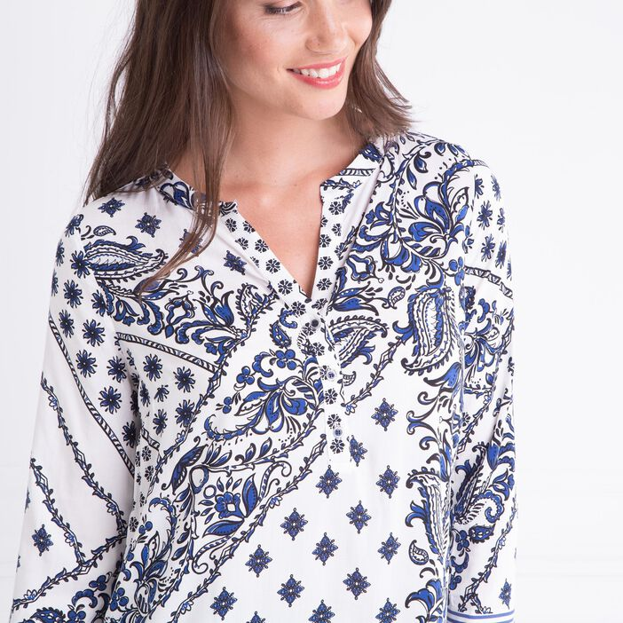 Chemise col tunisien 2 motifs blanc femme